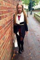 Romwecom blazer - leather Mango bag - leather new look shorts