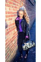 purple leather Primark gloves - black leather River Island boots