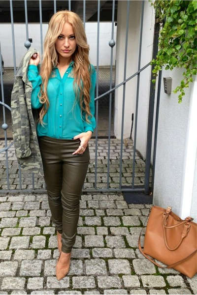 "Olive Green Leather H&M Pants | ""olive green H&M pants"" by ..."