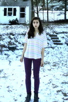light pink striped Thrift Store top - dark brown JC Penny boots