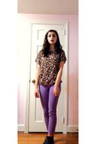 light purple Bullhead pants - dark brown boots - dark gray Thrift Store shirt