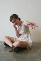 crimson doc martens boots - off white Thrift Store dress