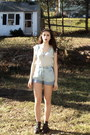 Eggshell-striped-thrift-store-shirt-light-blue-thrifted-vintage-shorts