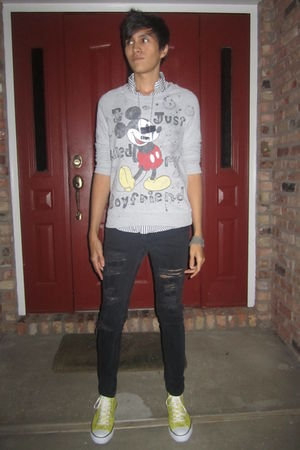 gray DIY sweater - white American Apparel shirt - black Forever 21 jeans - yello