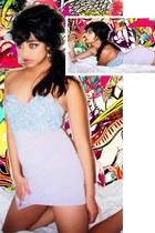 light blue denim Glassons bra - periwinkle cotton Glassons skirt