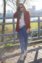 ivory litas Jeffrey Campbell heels - brick red Zara blazer - blue Zara pants