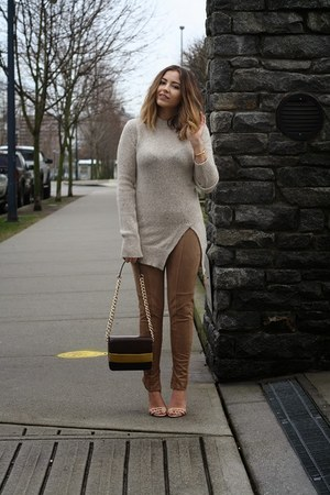 beige Zara sweater - brown H&M bag - eggshell Schutz heels