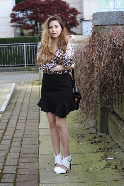 black Zara skirt - navy Zara dress - crimson Alexander Wang bag