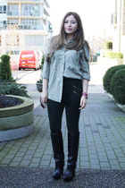 black Zara boots - olive green Zara shirt - forest green Zara pants