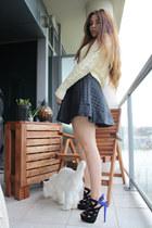 black Topshop skirt - blue shoemint heels