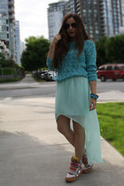 tan Isabel Marant sneakers - turquoise blue H&M sweater - aquamarine Zara skirt