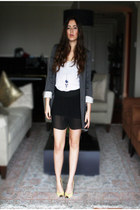 heather gray Zara blazer - black Zara shorts - white H&M top