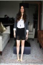heather gray Zara blazer - black Zara shorts - white H&M top