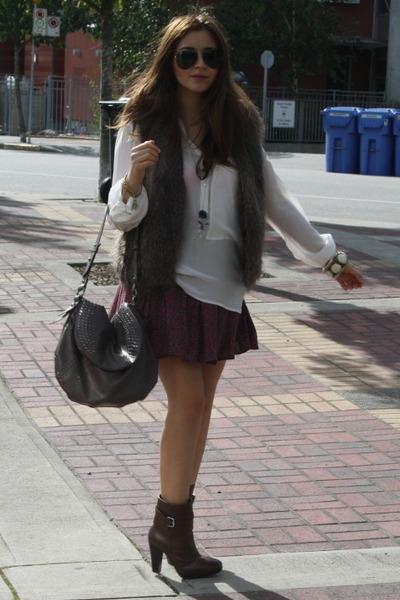 magenta Kimchi Blue skirt - dark brown Zara boots