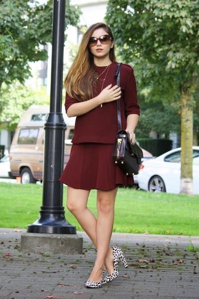 crimson Alexander Wang bag - brick red Zara skirt