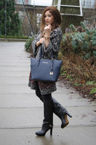 navy Michael Kors bag - black Zara boots - crimson Zara cardigan