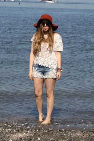 white H&M top - light blue chicnova shorts