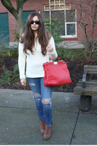 ruby red Florence Market bag - light brown River Island boots