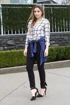 black Zara jeans - navy Zara shirt - white Zara blouse - black Nasty Gal heels