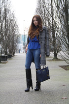 blue Zara jeans - black Zara boots - charcoal gray Zara coat