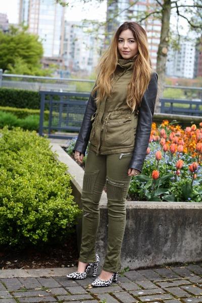 leather sleeves Zara jacket - leopard print Nicholas heels