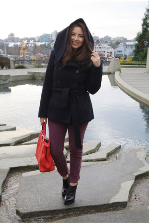 navy Zara coat - red Florence Market bag - brick red Urban Outfitters pants