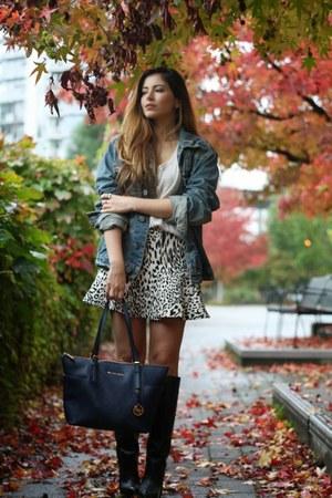 blue denim True Religion jacket - white leopard Zara skirt