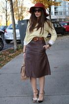 brown leather H&M skirt - light yellow SparkleFade sweater - beige Aldo bag