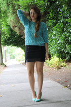 light blue H&M sweater - black H&M skirt - light blue Aldo heels