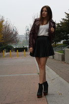 black Jeffrey Campbell boots - crimson H&M jacket - black H&M skirt