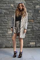 white Zara coat - black Zara skirt - blue shoemint heels