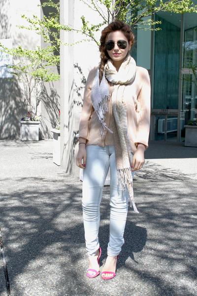 light blue H&M jeans - neutral Zara blouse - hot pink shoemint heels