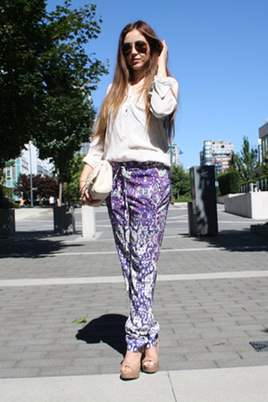 light purple H&amp;M pants - white Zara blouse
