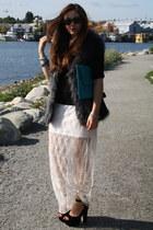 ivory lace reformed skirt - sky blue clutch asos bag - black Steve Madden heels