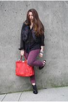 black faux fur asos vest - maroon cigarette Urban Outfitters pants