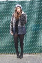 charcoal gray faux fur H&M coat - blue ROOTS hat - black H&M shorts