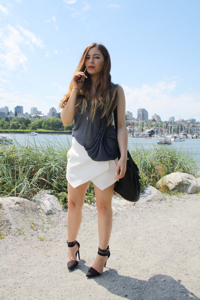 black Alexander Wang bag - white Zara skirt - black Nasty Gal heels