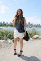 black Alexander Wang bag - white Zara skirt - black Nasty Gal heels