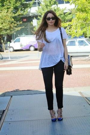 blue Valentino heels - crimson Alexander Wang bag