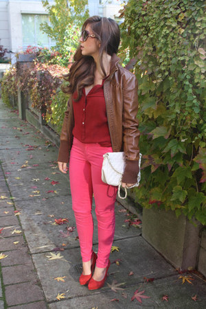 hot pink Zara pants - brown faux leather le chateau jacket - white asos bag