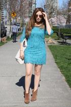 light brown River Island boots - aquamarine H&M dress - ivory Souve bag