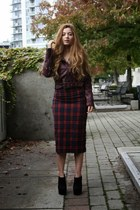 leather H&M jacket - plaid Zara skirt - shoemint wedges