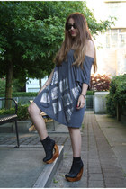 heather gray H&M dress - black Jeffrey Campbell wedges
