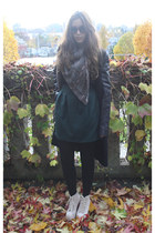 dark green Zara skirt - black leather sleeves Zara coat