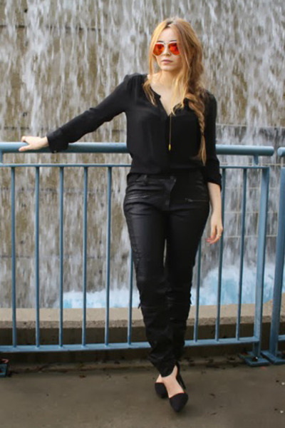 rayban sunglasses - leather Zara pants - Nasty Gal heels