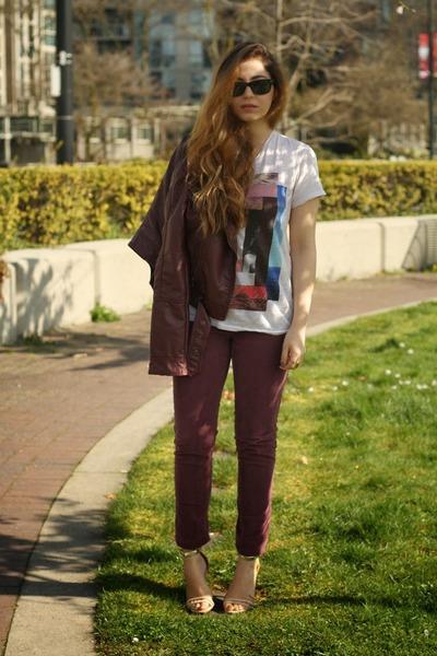 crimson H&M jacket - white Zara t-shirt - crimson BDG pants