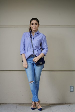 navy Chanel bag - violet JCrew shirt - navy Valentino heels