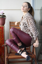 light brown H&M blouse - brick red H&M pants - black Nasty Gal heels