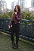 crimson leather H&M jacket - brown Opening Ceremony boots - black Zara skirt