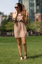 tan Nasty Gal dress - brown Miu Miu sunglasses - brown Nine West sandals